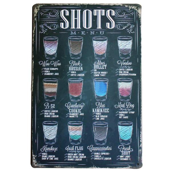 SHOTS MENÜSÜ Vintage Şarap Burcu Retro Teneke Neon Plak Dekor Ev plaka için iş salonu ofis parti duvar sanatı LJ4-12 20x30 cm