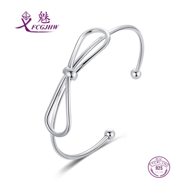 Sterling Silver 925 Bracelets Bangle Pour Femmes Fine Jewelry Bowknot Mignon Coréen Ajustement Ouvert Pour Party Valentines Day Gift