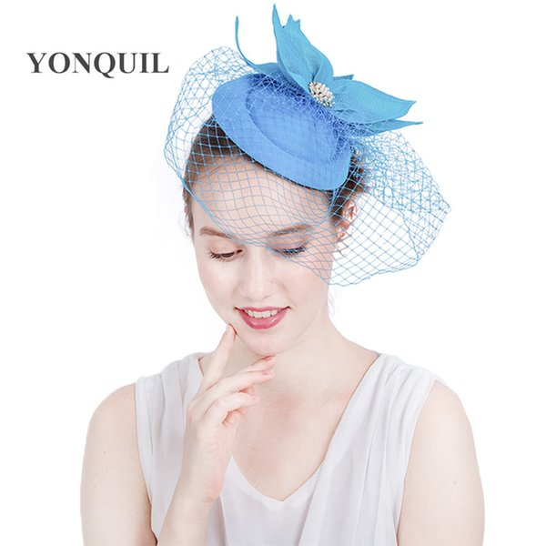 19Colors available bridal veils fascinators hat birdcage veil accessories headband elegant women ladies party show church derby hats SYF131