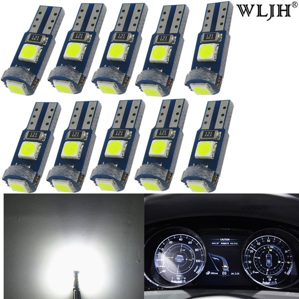 WLJH 10x T5 3-3030SMD Pure White LED Bulb Instrument Panel Cluster Dash Light Lamp 74 70 57 for Honda Dodge Subaru Pontiac Jeep
