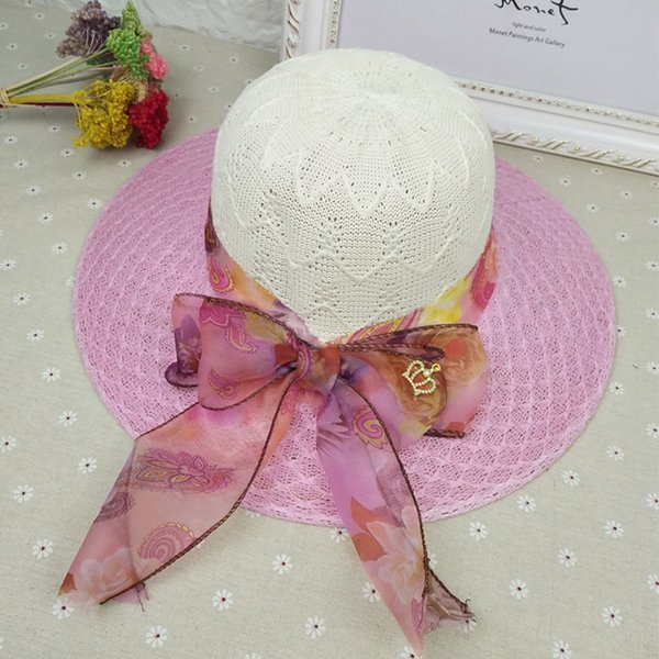 Summer Female Hat Lace Big Bow Sun Hats Outdoor Travel Beach Straw Cap Fashion Casual Folding Caps Free Shipping Sale