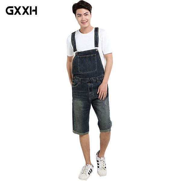 2018 New Summer Loose Jumpsuit pants Five Points Shorts Large size Casual Denim Bibs Male Korean Version of the trend Shorts 4XL