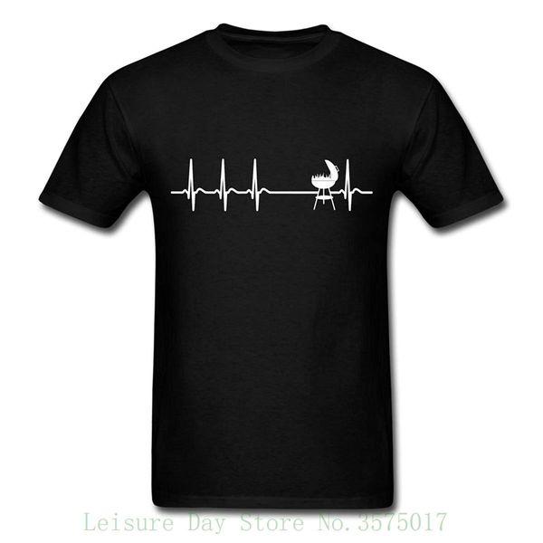 Heartbeat Bbq Ecg Funny Barbecue T-shirt da uomo Hip Hop Novità T-shirt da uomo Abbigliamento di marca