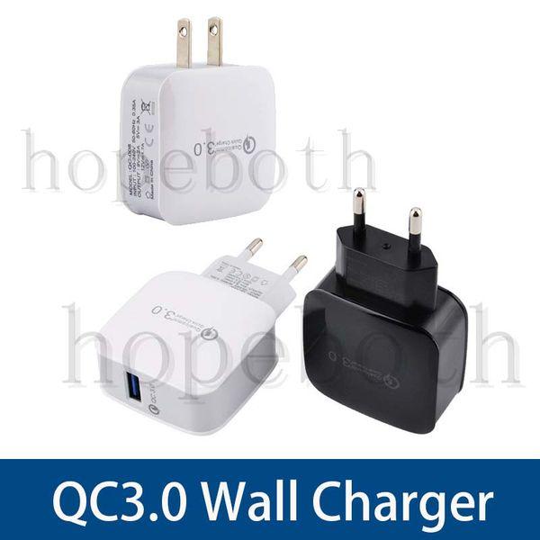 Top Qualtiy QC 3.0 EE. UU. Enchufe de la UE Adaptador de carga rápida Cargador de pared de viaje en casa para Samsung Galaxy Smart Phone DHL Free Ship