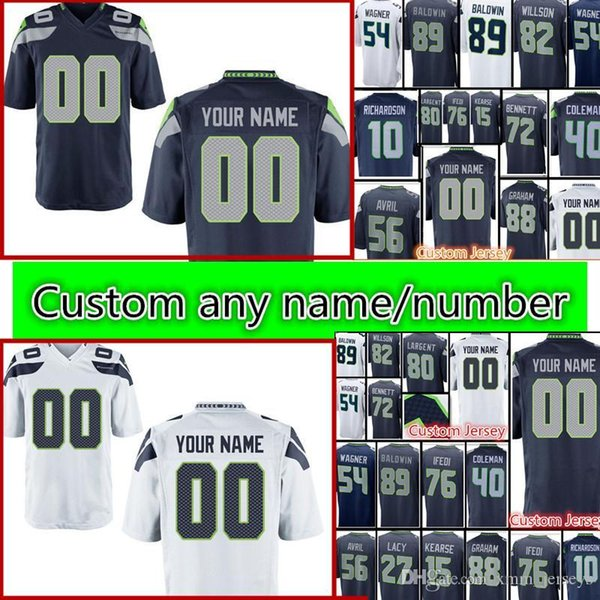 a80a064ee Seattle özel Seahawks forması Erkekler 89 Doug Baldwin 54 Bobby Wagner 88  Jimmy Graham 72 Michael Bennett 82 Luke Willson dikişli Formalar