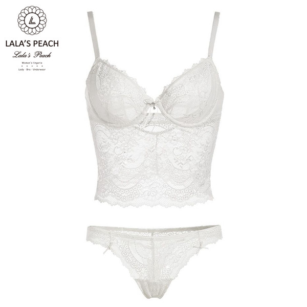 Lala's peach women underwire bra sexy THONG set buckle deep V push up gathering bra and panty set floral lingerie Intimates set