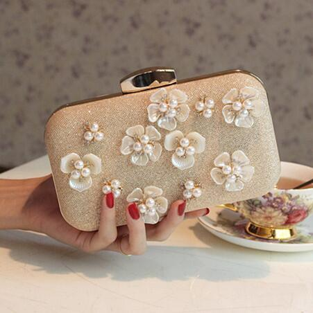 New Arrival Rose Gold Bridal Hand Bags for Wedding Flap Handmade Flowers Evening Party Clutch Elegant Women Formal Party Hand Bags