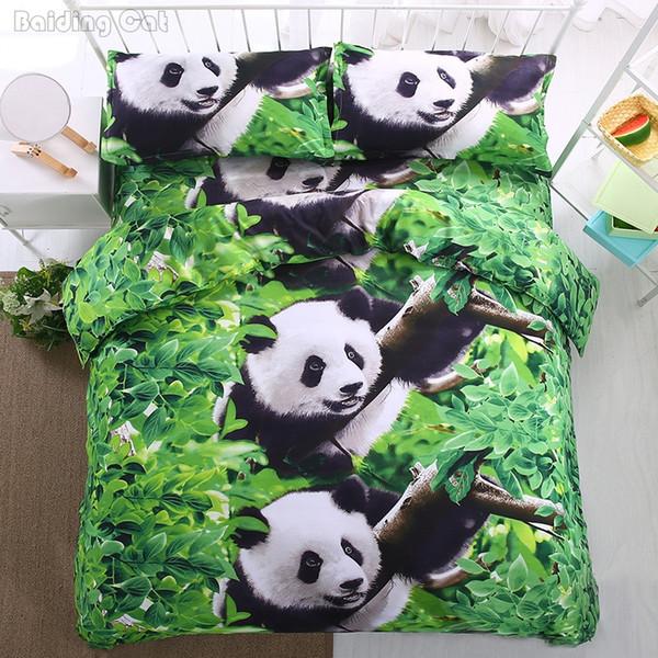 Vert Panda 3d Imprimé Ensembles De Literie 4 pcs Housse De Couette Ensemble Queen Queen Linge De Lit King size Belles Literie Romantique Maison Textile
