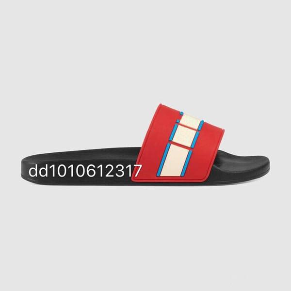 2019 Men Women Sandals Designer Shoes Luxury Slide Summer Fashion Wide Flat Slippery Sandals Slipper Flip Flop size 35-46 flower box