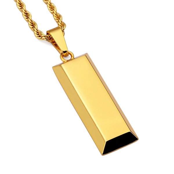 18K Thick Gold Fashion Hiphop Cube Bar Necklace & Pendant Charm Men Chain Long Necklaces Punk Jewelry Christmas Halloween Gift