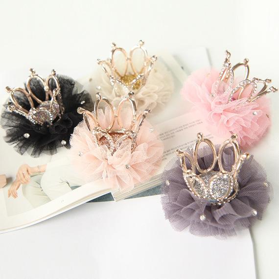 Pretty Children's alloy flower crown princess bud silk hair clips for girls baby hair accessories kids headwear hairpin lace S918
