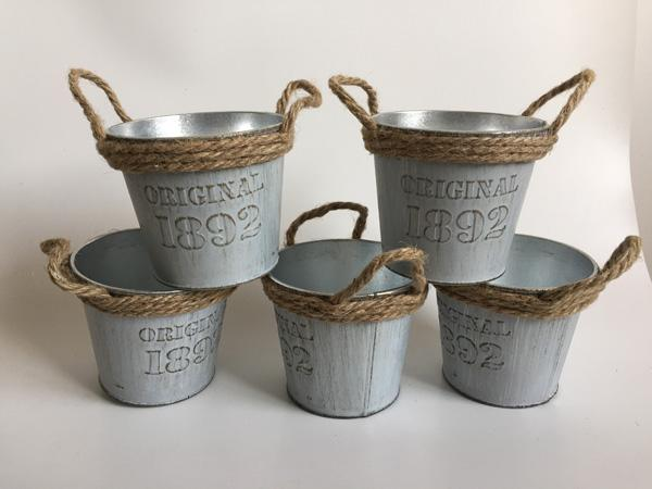 D10XH8.5CM Metal Planter Round Iron Buckets Succulent Pots Cheap Tin Pails with Rope Handle ORIGINAL 1892