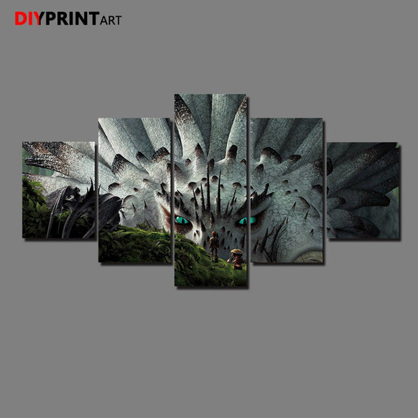 Toothless How To Train Your Dragon 5 Pcs/set Canvas Art Paintings for Bedroom Decoration A1382