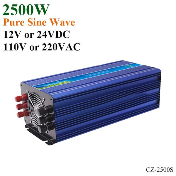 2500W Off Grid Solar Inverter veya Rüzgar İnvertörü, Dalgalanma Gücü 5000W 12V / 24VDC 110VAC veya 220VAC Saf Sinüs İnvertörü
