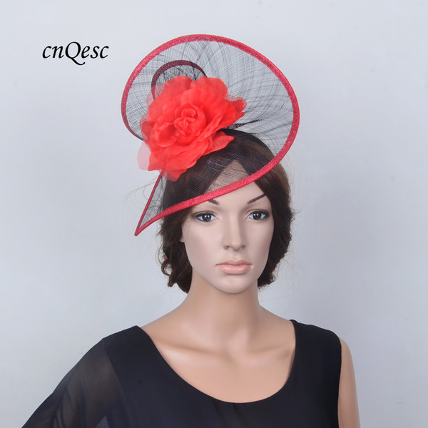 Exclusive design BIG RED/black sinamay fascinator wedding hat fedora with silk flower for wedding Kentucky Derby