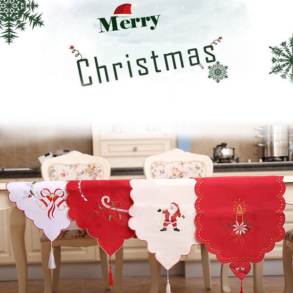 Christmas Dining Table Runner Cloth Embroidered Party Holiday Banquet Decoration