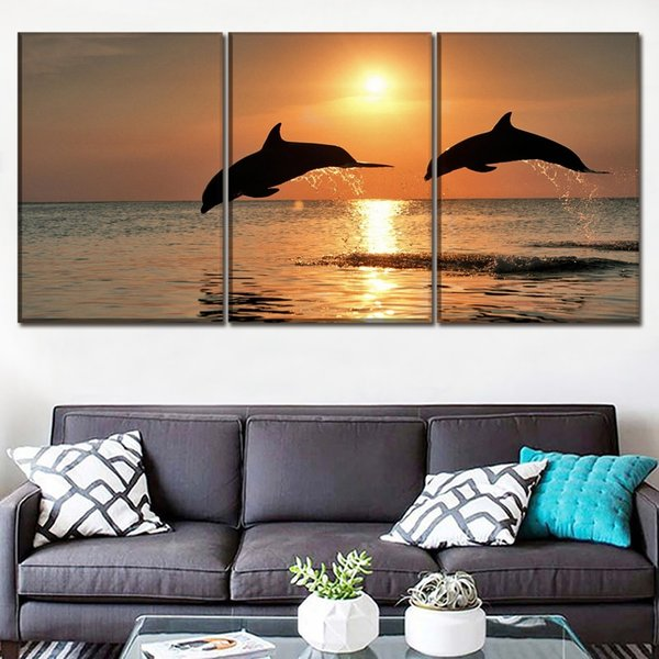 Modern Printing Type Art Home Decor For Living Room 3 Panel Marine Animal Dolphin Canvas Painting Wall Popular Modular Picture