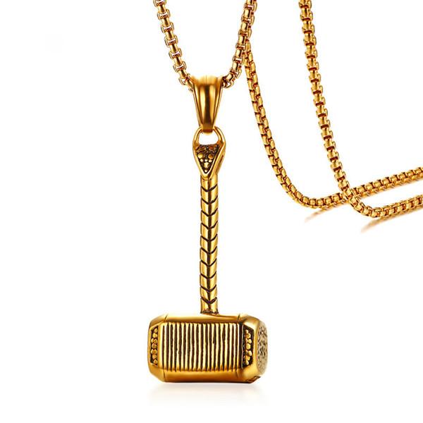 Mitología nórdica de Thor Hammer collar colgante para hombres de color oro acero inoxidable 24