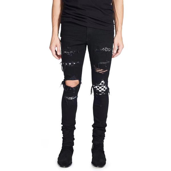 muy baratas conseguir baratas mejor proveedor Compre 2018 High Street Jeans De Hombre De Moda Color Negro Destroyed Hip  Hop Jeans Hombres Pantalones Punk Roto Patch Skinny Ripped For Men A $72.13  ...