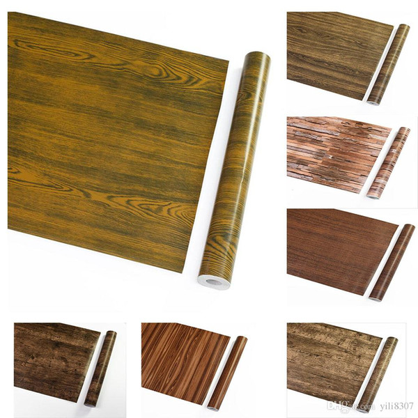 Wholesale 45cm*10m Textured Wood Grain Furniture Stickers Vinyl Stickers PVC Waterproof Adhesive Wallpapers for Nightstand Kitchen Cupboard