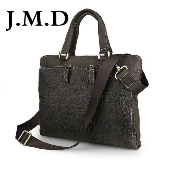 J.M.D 2018 Nova Alta Qualidade 100% Couro Genuíno Saco Do Mensageiro Maleta Laptop Bag Ombro Crocodilo Padrão 7294