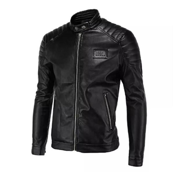 Frühling Lederjacken Männer Schwarz Biker Jacken Männer Quilten Schulter Nieten Abzeichen Patch Vintage Motorrad Jacken