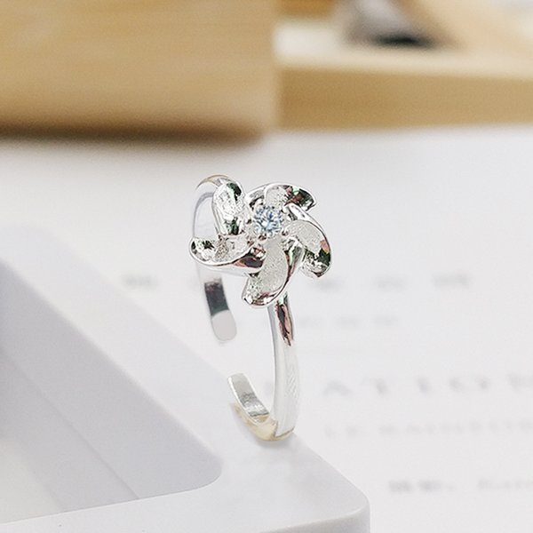 Édition coréenne bague diamant nouvelle création mini moulin à vent modélisation ouverture bague femme