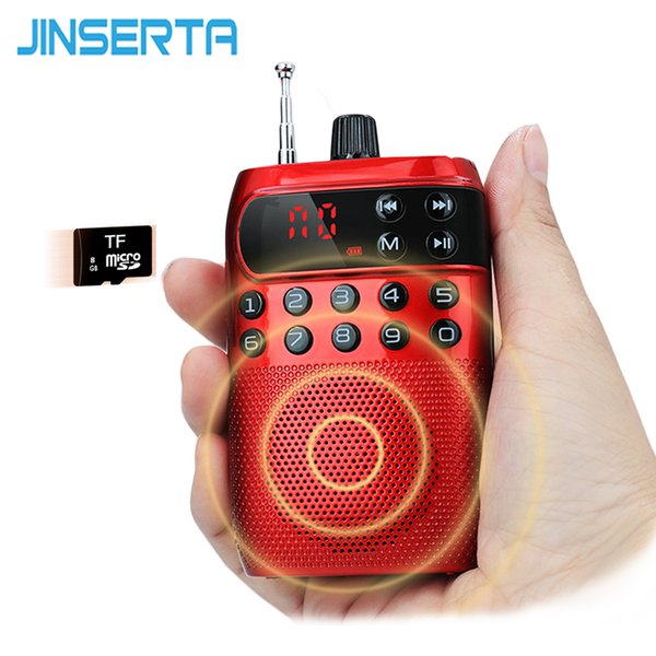 JINSERTA Mini Radio FM Portátil Altavoz Reproductor de Música con Pantalla LED Auriculares Jack Soporte Tarjeta TF Jugar
