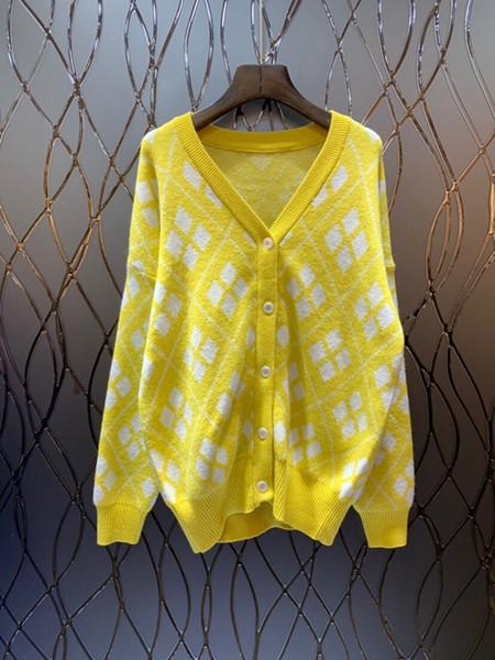 2018 sonbahar kış kadın giyim V yaka düğmesi süsleme uzun kollu baskılı kazak bluz 1029
