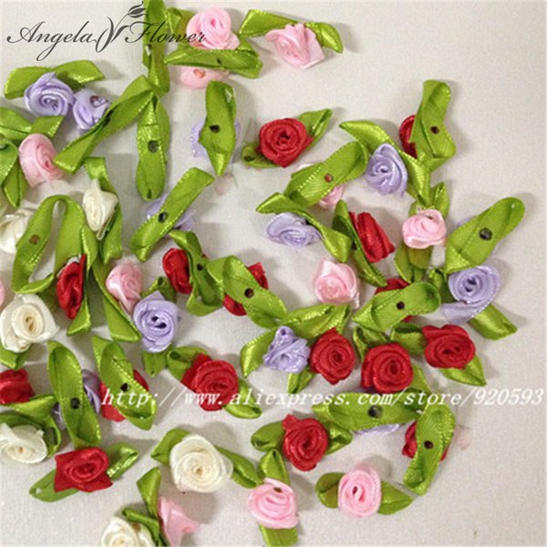 100Pcs Satin Ribbon Roses Flower Appliques Scrapbooking Sewing DIY Craft Decor Wedding Home decoration Free Shipping