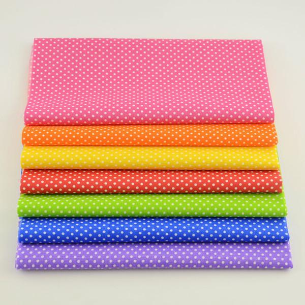 Mini White Dots 7PCS 100% Cotton Plain Fabric Curtain Home Textiles Patchwork Tela Tecido Quilting Meter