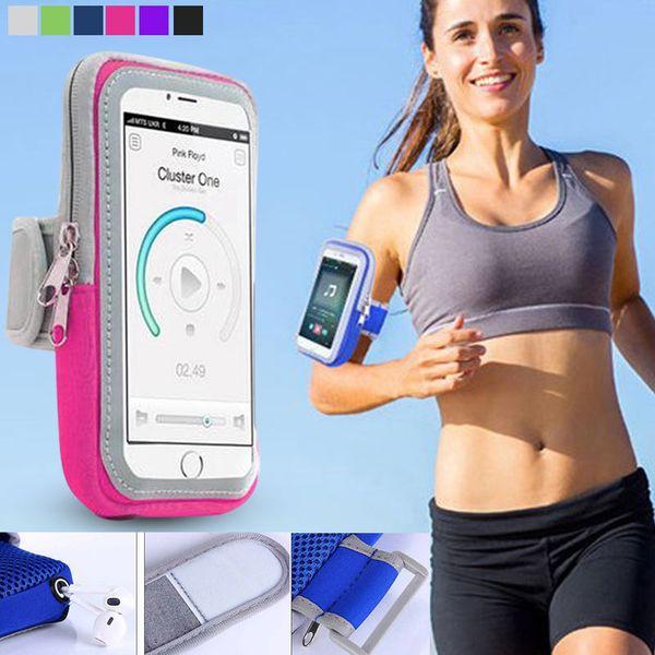 Yüksek Kalite 4.7 / 5.5 Inç Kol Çantası Kart Yuvası ile Sweatproof Koşu Spor Spor Telefon Kılıfı için iPhone Samsung Xiaomi HuaWei