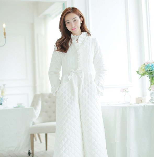 2018 New Autumn and Winter Women's Thickened Long Cotton Robe Female Warm Princess Pajamas Home Clothes Bathrobe Nightwear