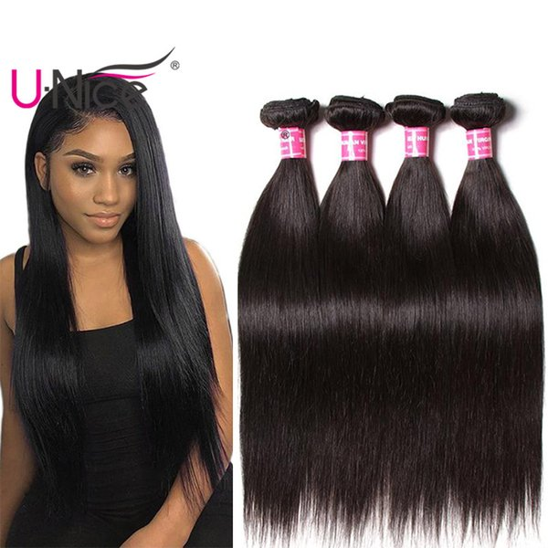 Unice Brazilian Straight Hair Bundles 100% Raw Indian Remy Human Hair Extensions Natural Color Malaysian Hair Weave 4Pcs Wholesale Bulk