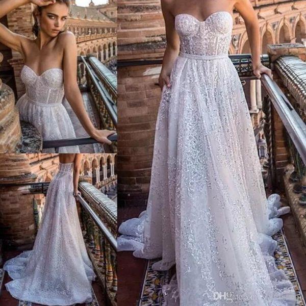 2018 Discount New Fashion Shiny Wedding Dresses Sweetheart Neck Beads Sweep Train Custom Made Bridal Dress Robe de Mariage Strapless Dress