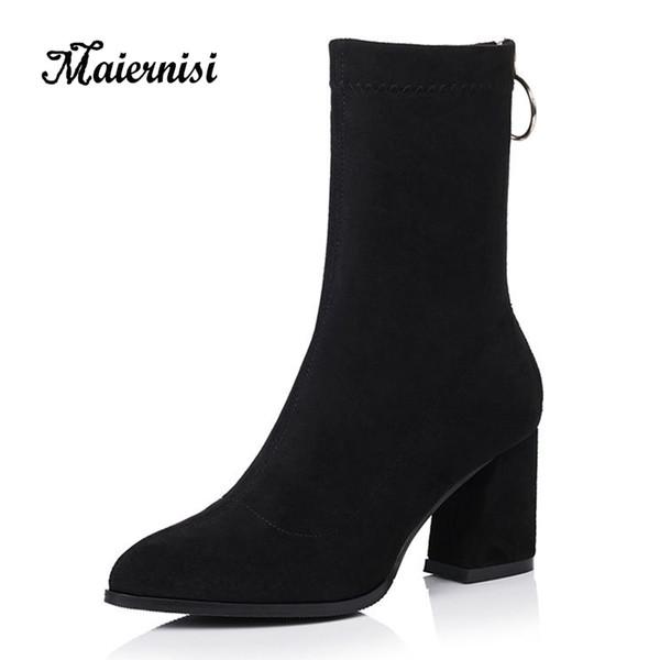 detallado a238c 0d089 Compre MAIERNISI Botas Para Mujer Punta Estrecha Botines Elásticos Tacón  Grueso Zapatos De Tacón Alto Mujer Mujer Calcetines Flock Zapatos Para  Mujer ...