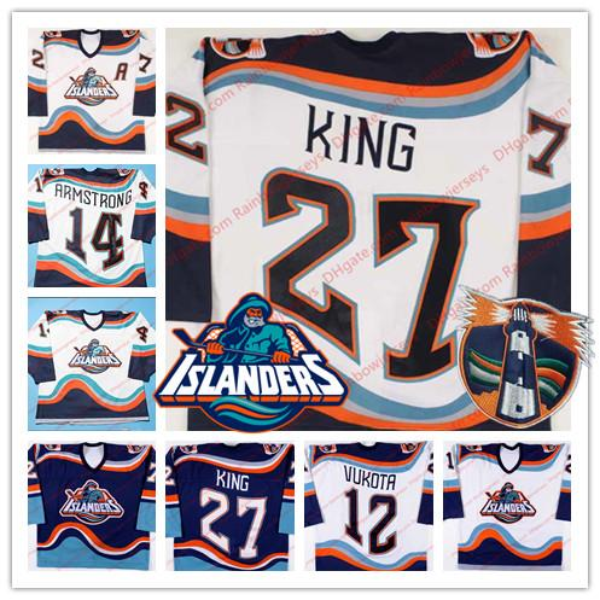 New York Islanders Fisherman # 7 Derek King 14 Derek Armstrong 12 Mick Vukota 3 Kenny Jonsson Maglie da hockey Vintage Retro Blu Bianco S-4XL