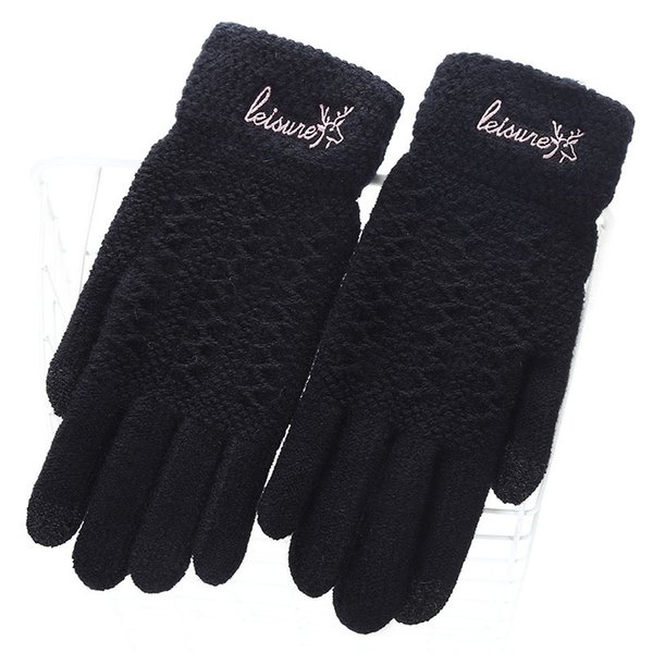 Ladies Fashion Winter Warm Cute Cartoon Finger Knit Touch Screen Gloves Women Full Finger Soft Mittens Black Gloves 18E