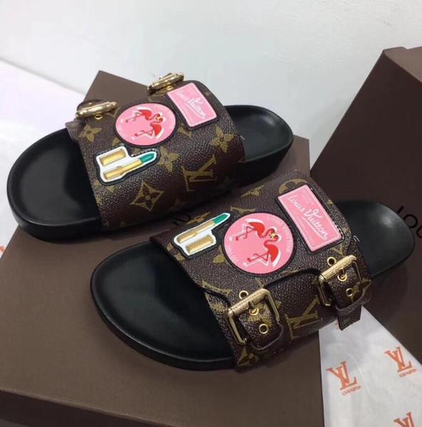 2018 En Cuir Marque Desinger Nouvelles Femmes Thong Sandales D'été Femmes Plage Sandales Célèbre Flip Fllops Grande taille 35-41 cuir véritable