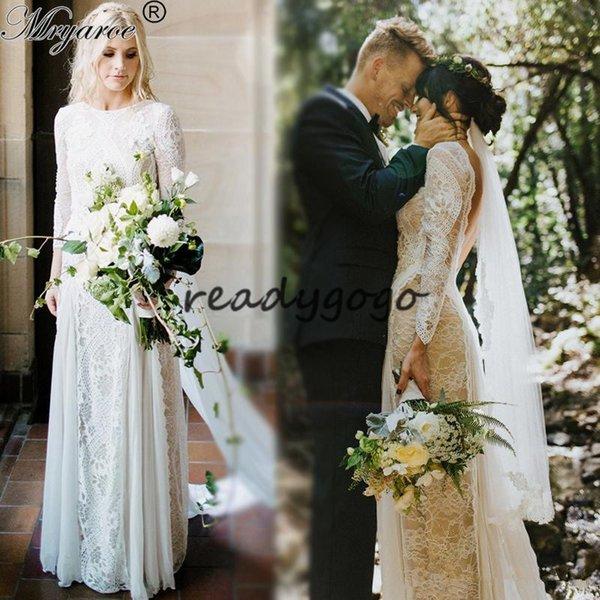 2019 чешские свадебные платья старинные французские кружева с длинным рукавом Boho свадебное платье открытой спиной свадебные платья vestido де noiva