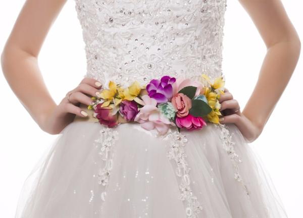 lo último 59cb1 5996d Compre EVER FAIRY 2018 Cinturón De Flores De Moda Para Mujer Chica Mujer  Cinturón Fajas De Boda Que Combinan Con Tela Quemada Cinturón Elástico De  ...