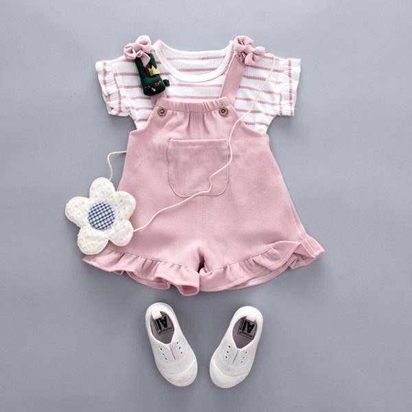Baby-Mädchen-Kleidung 2018 Sommer-Säuglings-neue Kleidungs-Kurzschluss-gestreifte T-Shirt Oberseitenstrumpfhosen keucht Kinder-Bebes-Jogging-Klagen