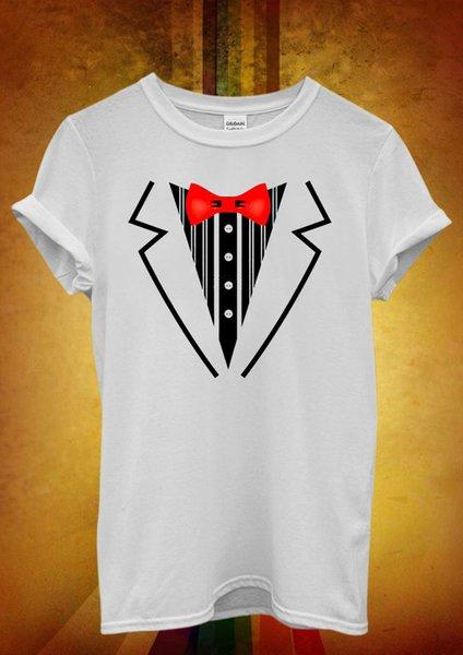 Tuxedo Suit Bow Tie Fancy Dress Party Men Women Unisex T Shirt Tank Top Vest 708 New Fashion Mens Short Sleeve T shirt Cotton T Shirts
