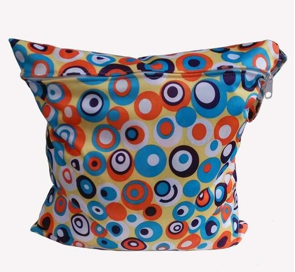 Circle Animal Print Diaper Wet/Dry Bag Laundry Bag Cloth Diaper Bags Wet Swimsuit Bag WetBag 28*30cm