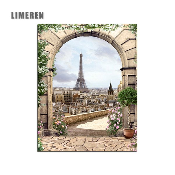 Arch Eiffel Tower Paris Landscape DIY Oil Coloring By Numbers On Canvas Painting By Numbers For Living Room Wall Art Home Decor