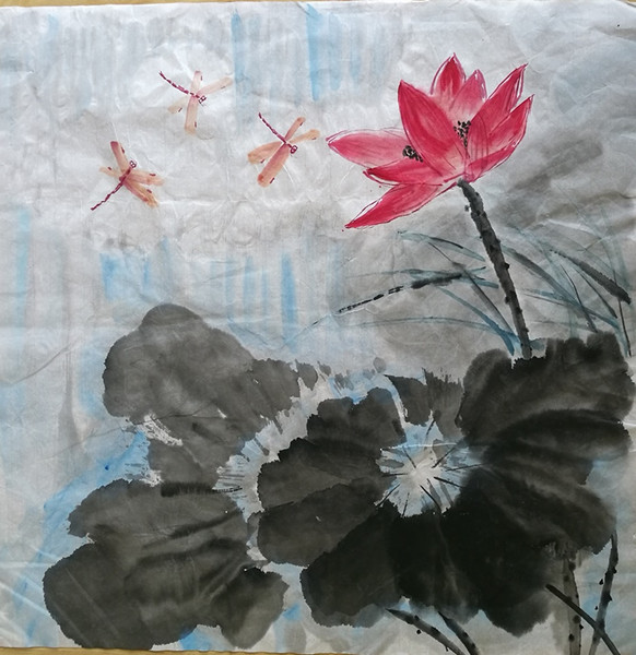 Hand Painted Chinese painting--lotus3