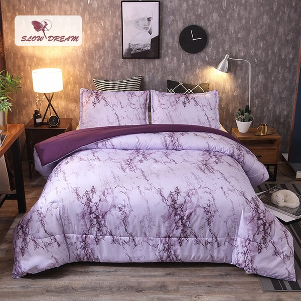 Slowdream 3D Purple Stone Quilt Comforter Duvet Blanket Bedding Filler Bedspread Nordic Autumn Winter Double Warm Blanket Quilt