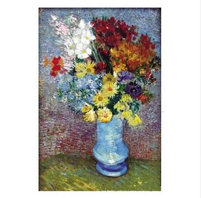 Flowers In a Blue Vase by Vincent Van Gogh Handpainted & HD Print Still Life Art Oil Painting On Canvas,Frame Option l135