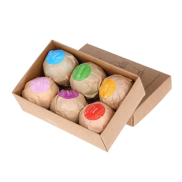 6 pcs Natural Bath Bombs Bubble Bath Salts Ball Essential Oil Handmade SPA Stress Relief Exfoliating Mint Lavender Rose Flavor