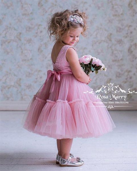 Rosa Vintage Pizzo Economici Ragazze Abiti Spettacolo 2020 Abito di Sfera Lunghezza Del Tè Cristalli Principessa Toddler Infantile Bambine Spettacolo Gown Size 10